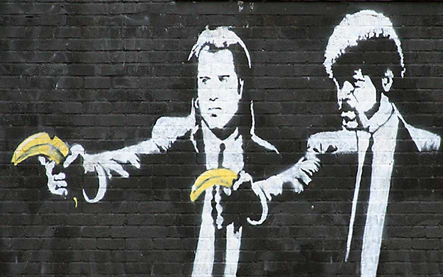 Banksy graffiti pulp fiction