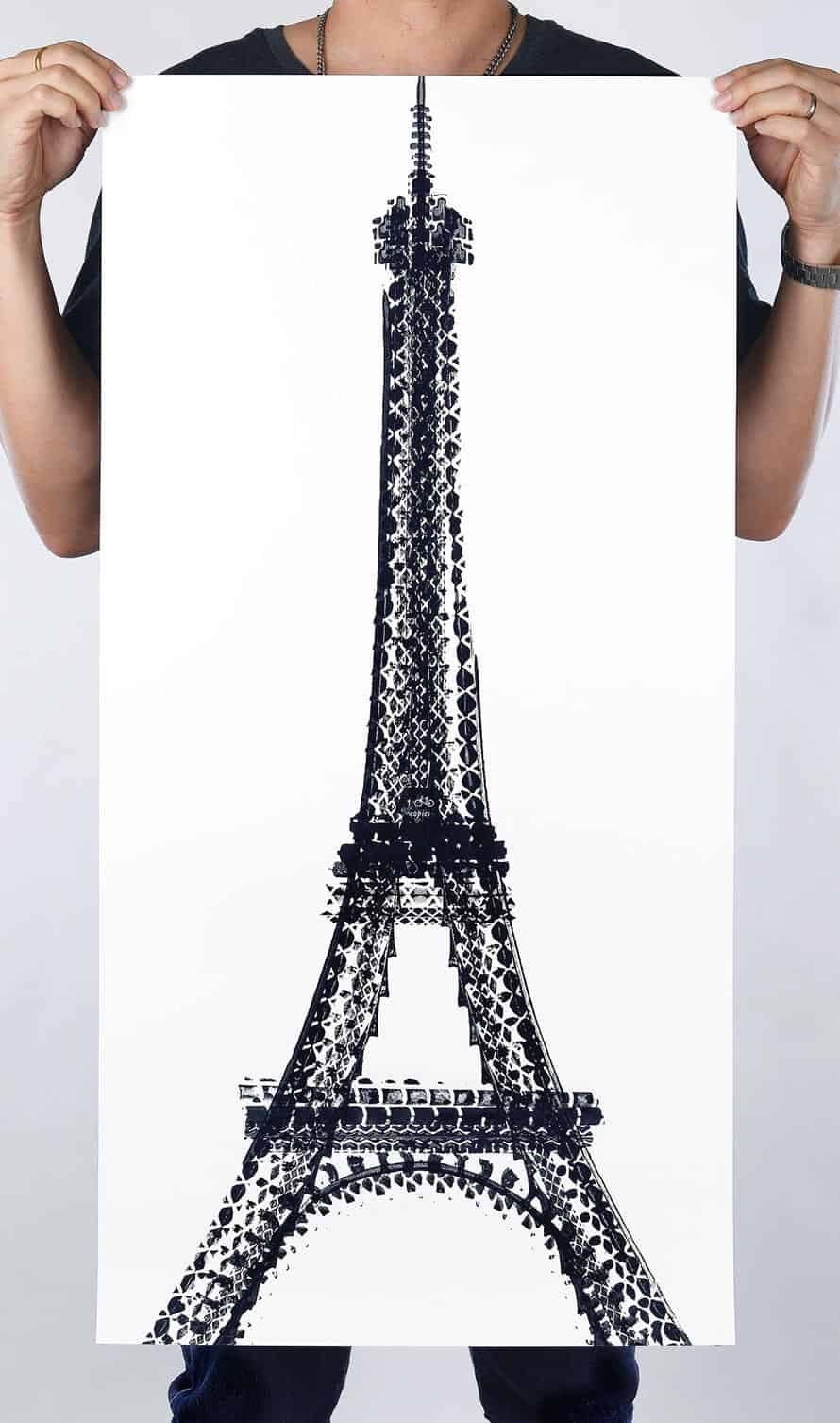Contemporary Art with Bicycle Tire by Chinese Contemporary Artist Thomas Yang Eiffel Tower