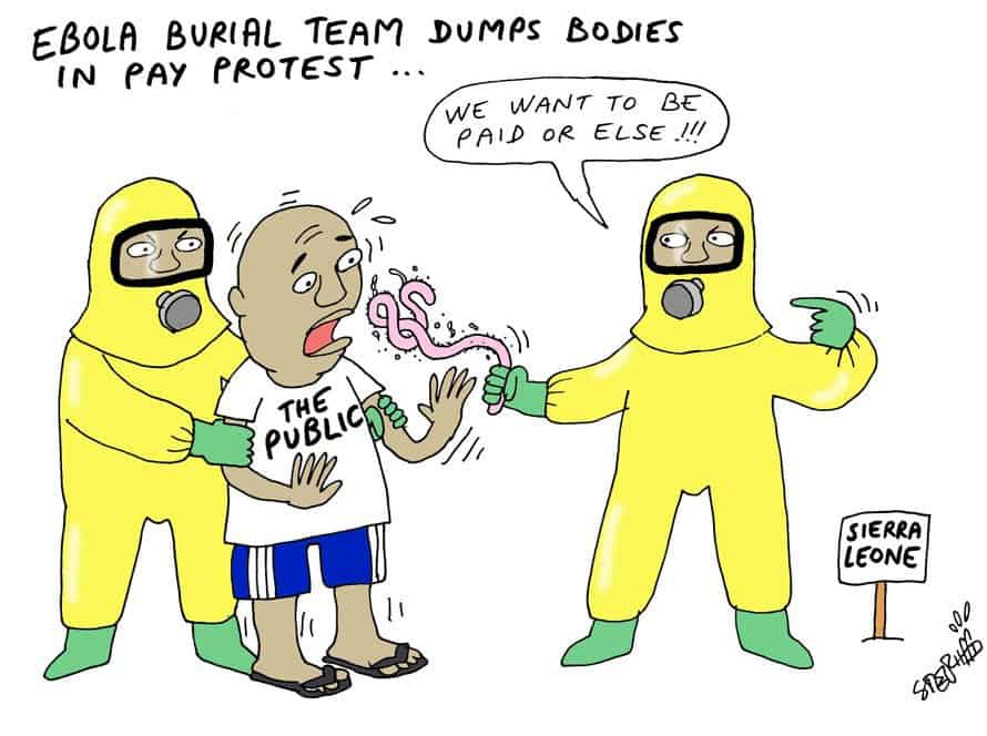 thai art thailand politics cartoon stephff ebola burial team pay protest