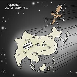 thai art thailand-politics-cartoon-stephff-landing-on-a-comet-feat