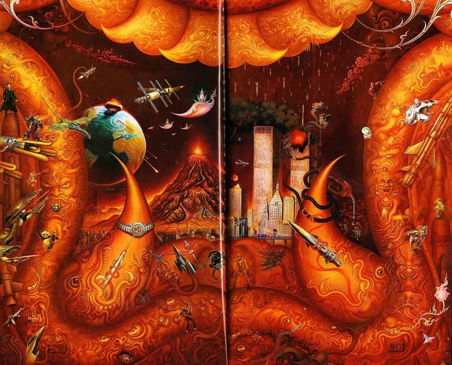 wat rong khun wall painting thai art