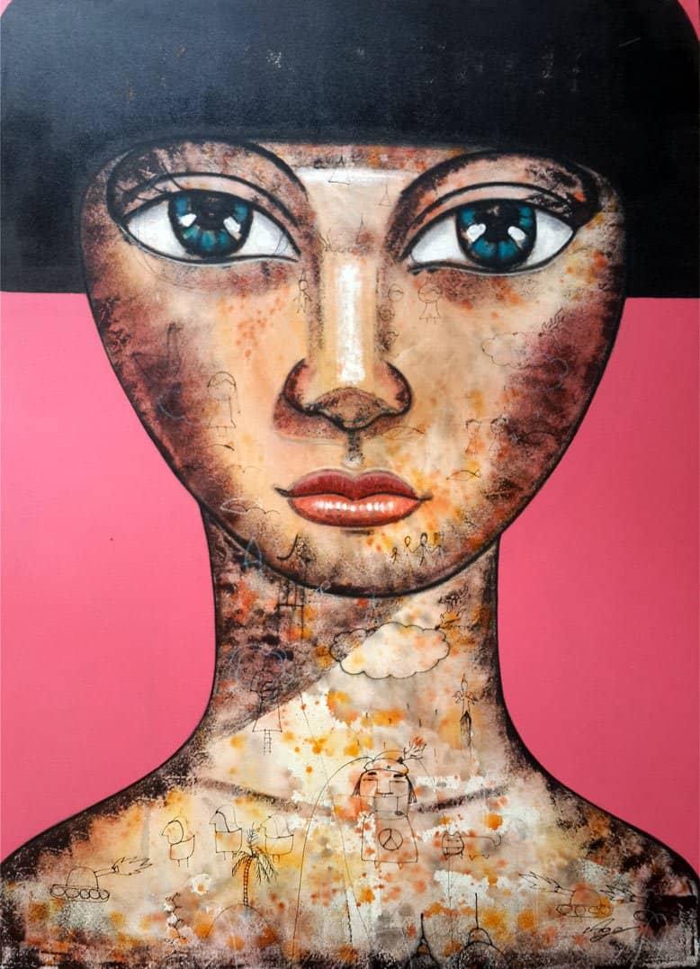 Art For Sale # Age # Thai Art # Pink # 120 X 180 cm