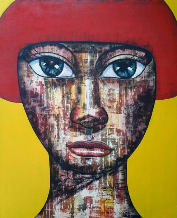 Art For Sale # Age # Thai Art # Yellow Red # 120 X 160 cm