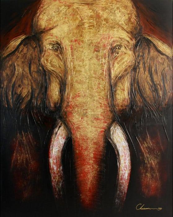 Art For Sale # Chaiwan # Elephant Art Thailand # 2
