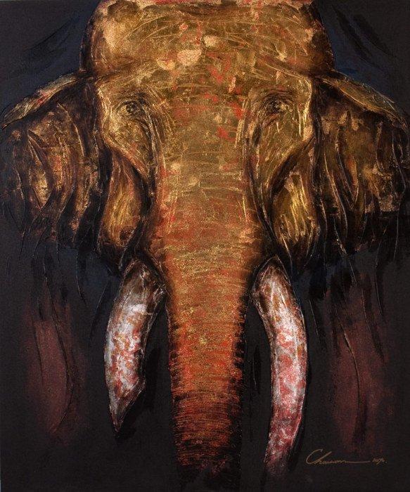 Art For Sale # Chaiwan # Elephant Art Thailand # 4
