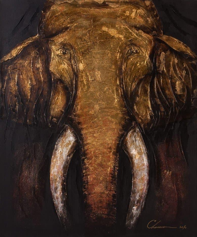 Art For Sale # Chaiwan # Elephant Art Thailand # 5