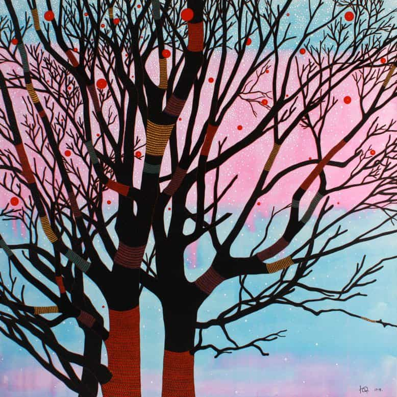 Art For Sale # Chamnan # Trees and Pink # Thai Art