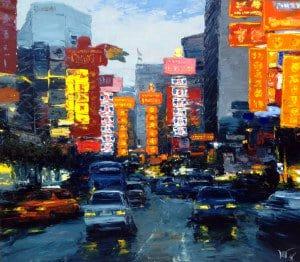 Art For Sale # Dusit Pimchangtong # Chinatown # Oil Painting
