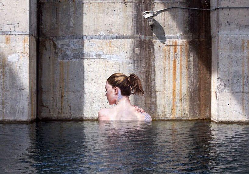 Hyper-realistic Bathing Ladies Street Art by Hula 3