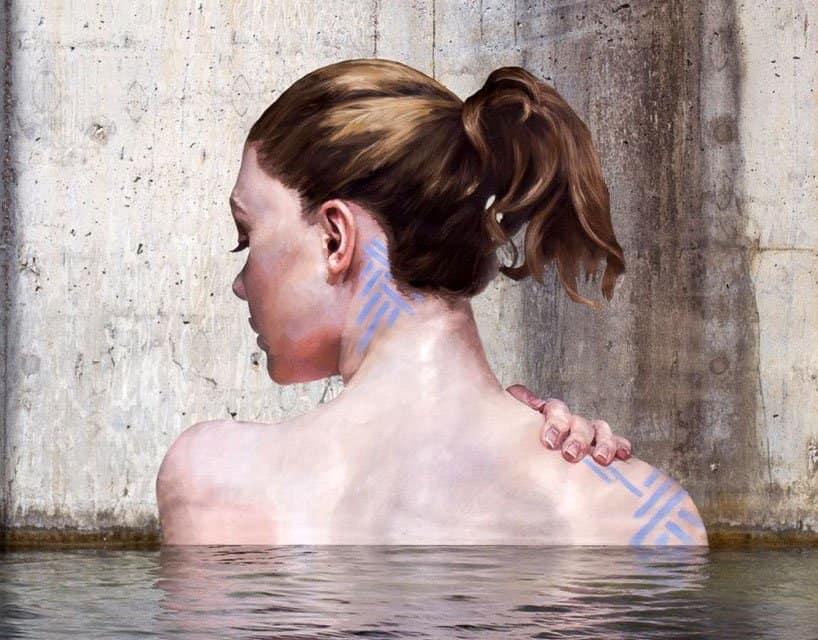 Hyper-realistic Bathing Ladies Street Art by Hula 4