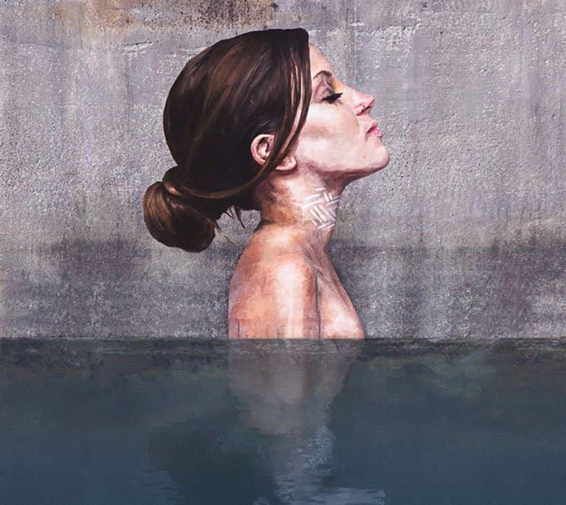 Hyper-realistic Bathing Ladies Street Art by Hula 6