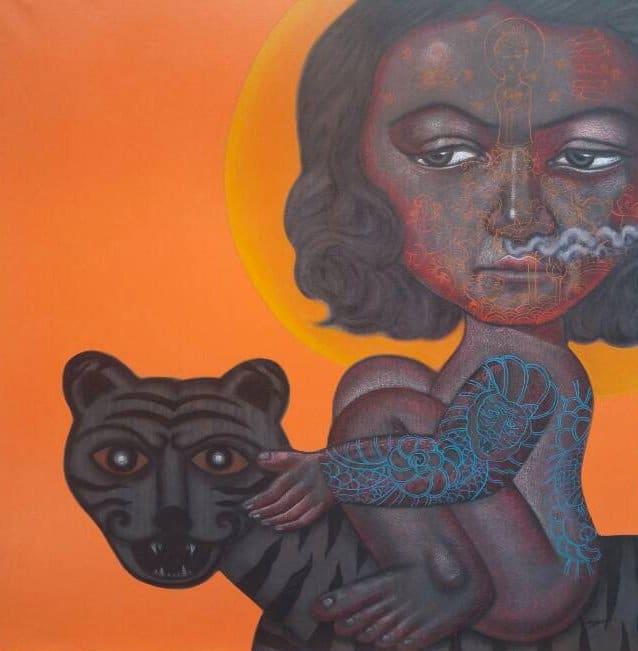 Padungphon Rincom - Thai art - 150X150 - Orange