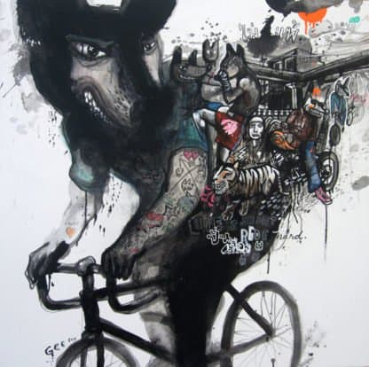 Jirawat Pramphet - Ride Life - Acrylic and Ink - 100 X 100