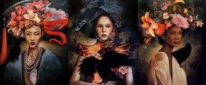 Kraiphet Pitakpreechakij – 3 Ladies – 100 x 240 – Triptych