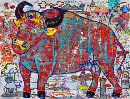 Popkapi - Jakkrit Chewapanya - Crazy Buffalo - 198 X 150 - Thai Art