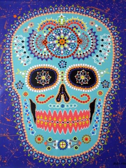 Vatcharapong Nakakrut - Sugar Skull (Blue Purple) - 80 x 100