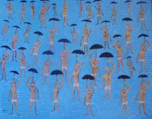 Kitti - Men in The Rain - 100 x 80 - 7500