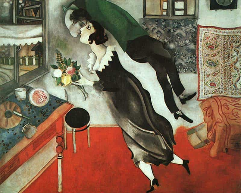 10 Best Kisses in Famous Artworks - Marc Chagall - Birthday