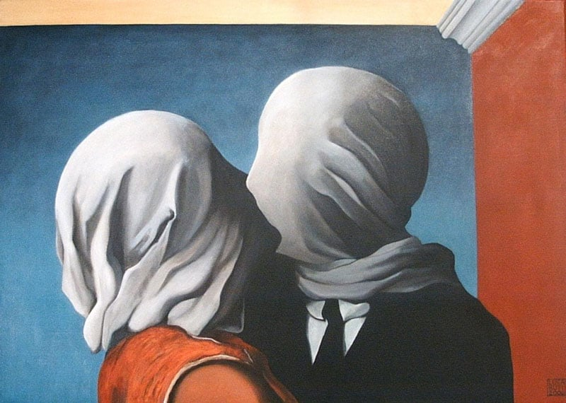 10 Best Kisses in Famous Artworks - Rene Magritte - The Lovers