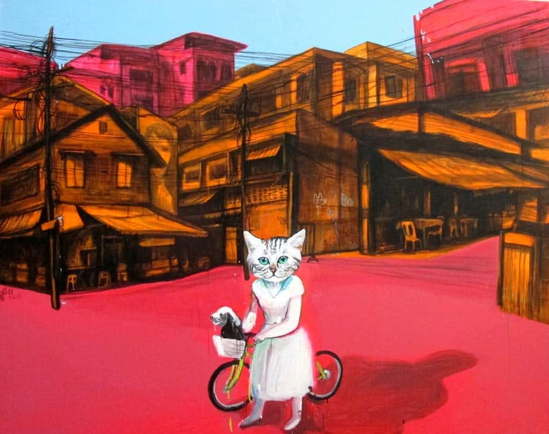Gee - Cat ride Dog Fine In My Town- 140 x 110 - 36