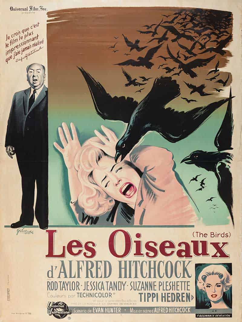Inspiration – Vintage French Movie Posters - 17 The Birds - 1963 - Boris Grinsson