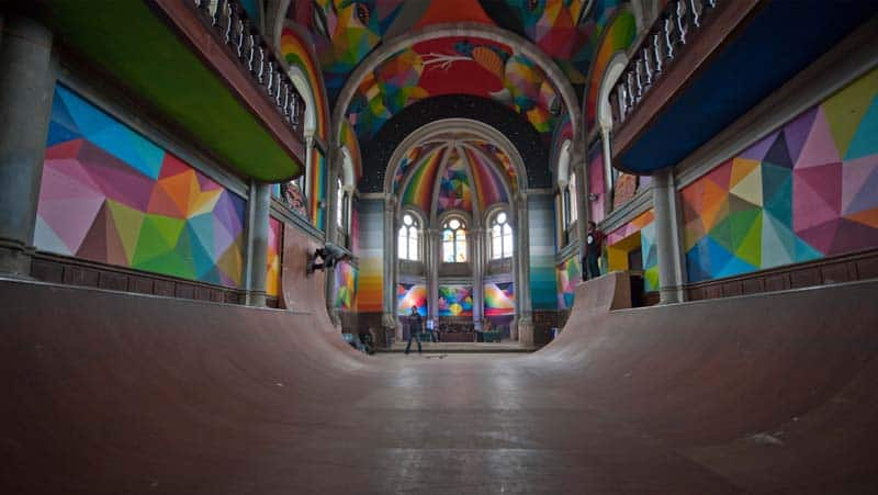 Street Arts - Okuda Paints - Skater Church - Spain 01