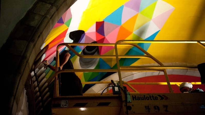 Street Arts - Okuda Paints - Skater Church - Spain 02