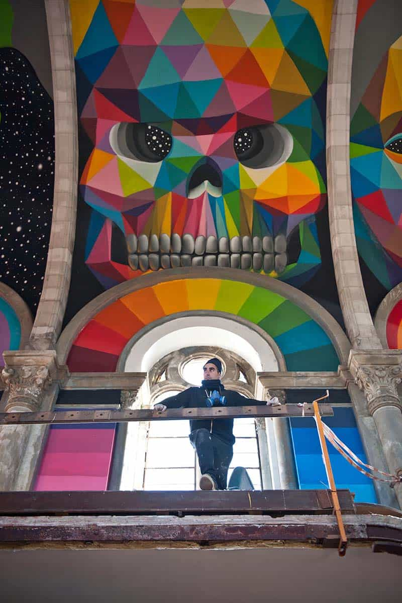 Street Arts - Okuda Paints - Skater Church - Spain 04