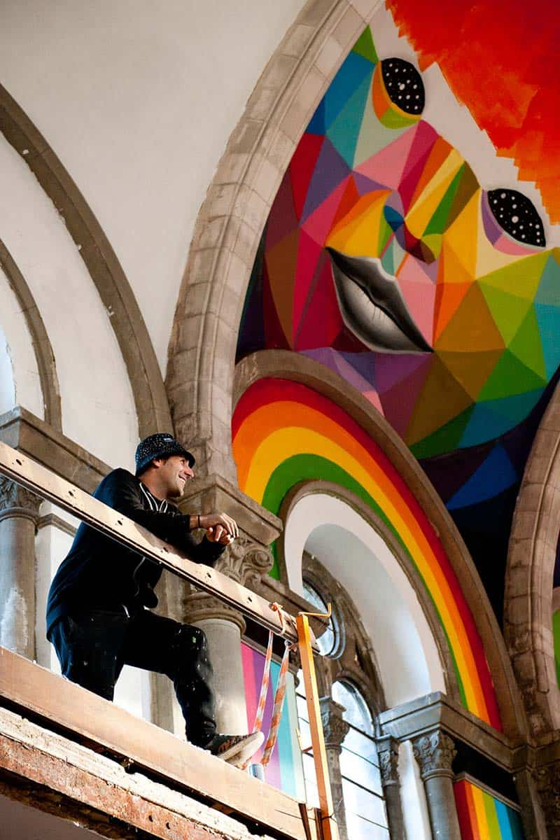 Street Arts - Okuda Paints - Skater Church - Spain 05
