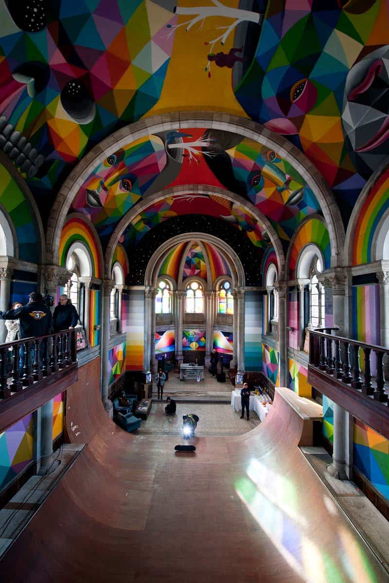 Street Arts - Okuda Paints - Skater Church - Spain 11