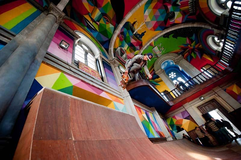 Street Arts - Okuda Paints - Skater Church - Spain 17