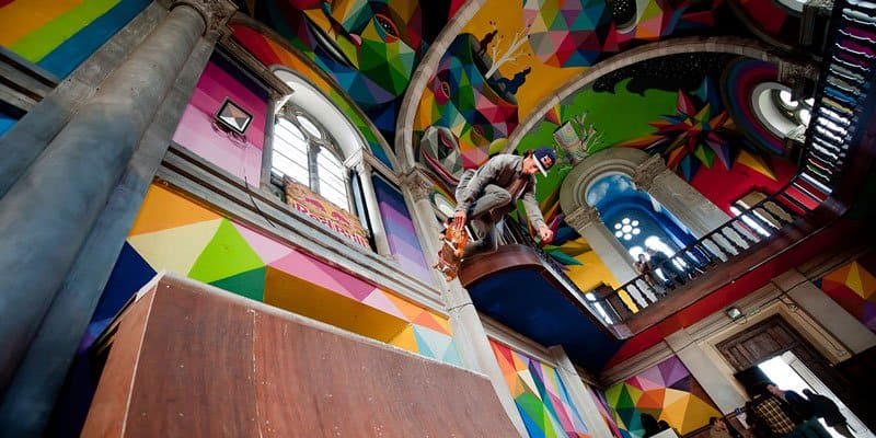 Street Arts - Okuda Paints - Skater Church - Spain - Feat