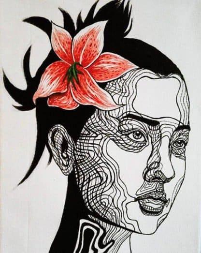 Blue Bird - Girl With A Flower - 30 x 40 - 3