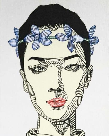 Blue Bird - Girl with a floral crown - 30 x 40 - 3-5