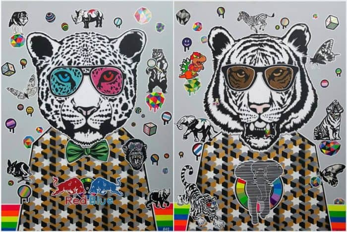 Boat - Double tiger (diptych) 18 - 120 x 80 - 14