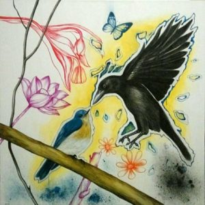 Blue Bird – Bluebird and Crow – 100 x 100 – 15