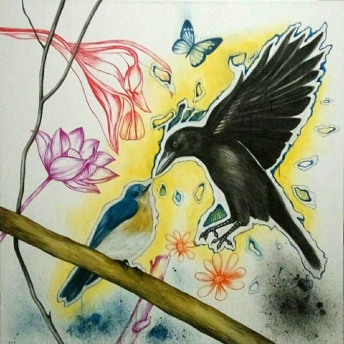 Blue Bird - Bluebird and Crow - 100 x 100 - 15