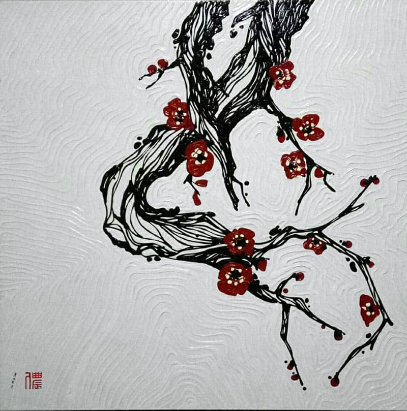 Blue Bird - Plum Blossoms 02 - 100 x 100 - 15