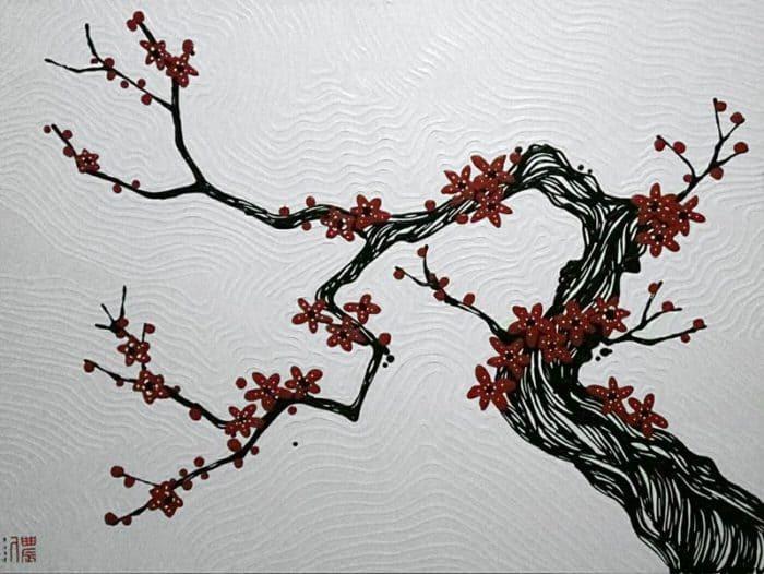 Blue Bird - Plum Blossoms 03 - 120 x 90 - 18