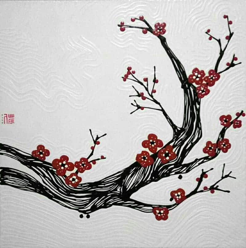 Blue Bird - Plum Blossoms - 100 x 100 - 15