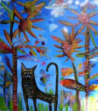 Kitti - A Cat in Sunflower Garden - 100 x 120 - 9