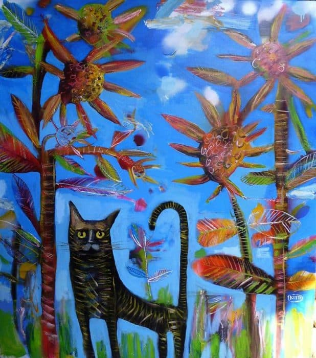 Kitti - A Cat in Sunflower Garden - 100 x 120 - 9