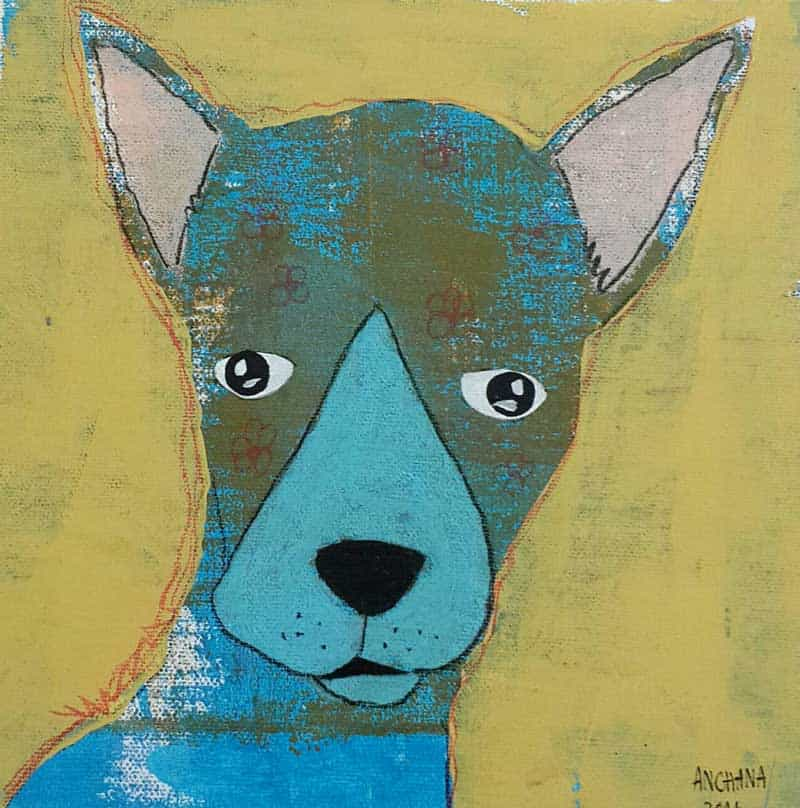 Ja - Blue and Brown Dog- 20 x 20 - 3-9