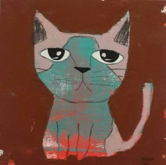 Ja - Blue and pink sitting cat - 20 x 20 - 3-9