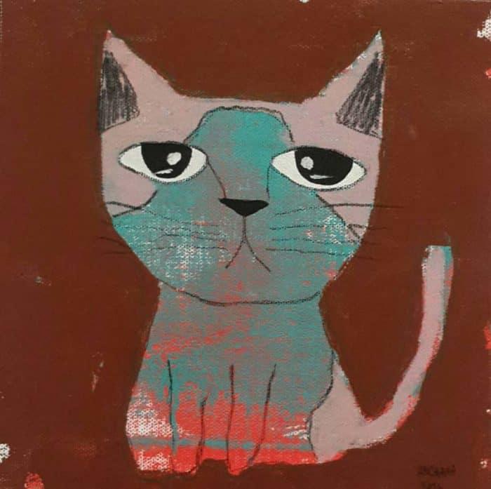 Ja - Blue and pink sitting cat - 20 x 20 - 3-9