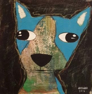 Ja - Blue dog with funny eyes - 20 x 20 - 3-9
