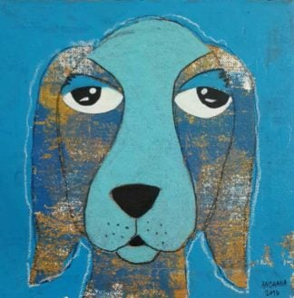 Ja - Blue sexy eyes dog - 20 x 20 - 3-9