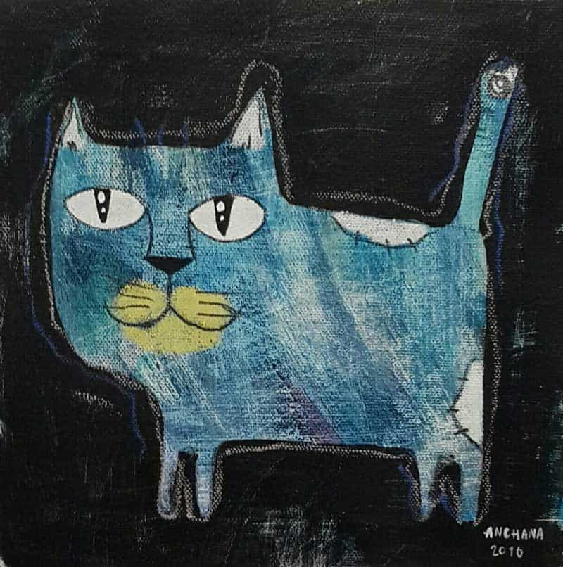 Ja - Blue short cat - 20 x 20 - 3-9