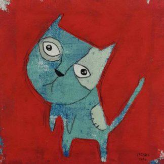 Ja - Blue silly cat - 20 x 20 - 3-9