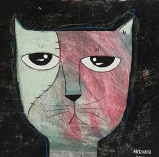 Ja - Bored White and Pink Cat - 20 x 20 - 3-9